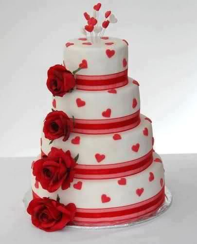 Birthday Cake Of 4 Floors Decorated With Roses And Hearts