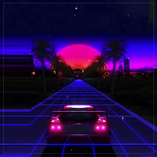 Vaporwave Car Fast Driving Digital Art Futuristic Design Miami Palms Cyberpunk Synthwave Video Vaporwave Wallpaper Synthwave Art Vaporwave