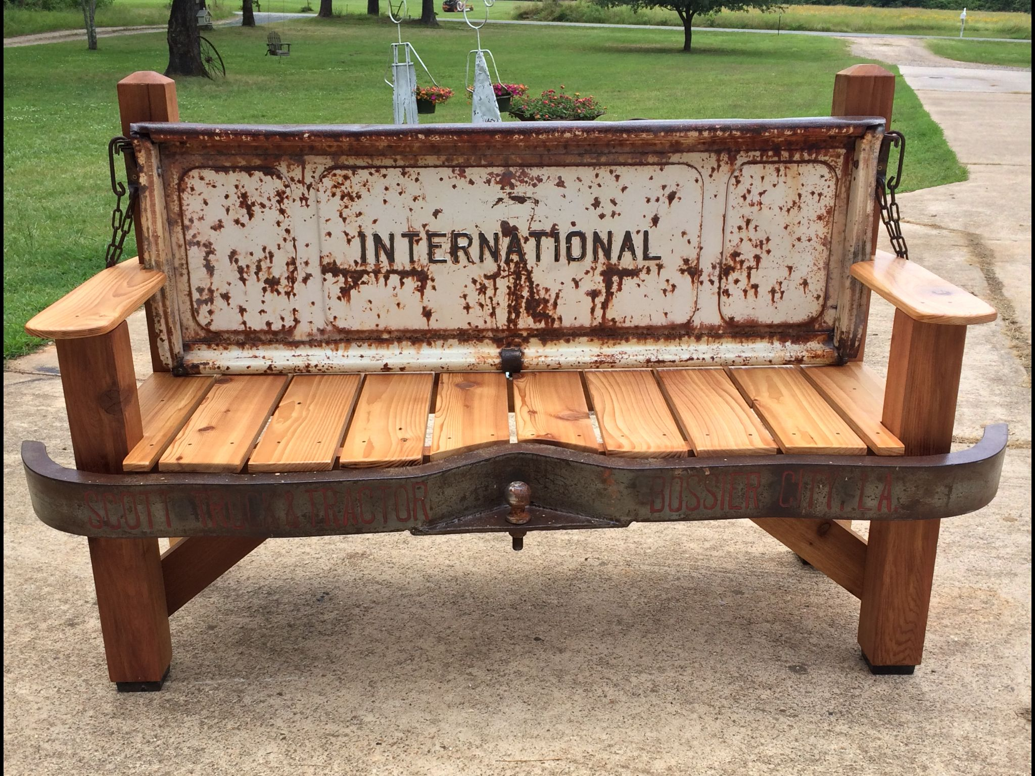 Tailgate Bench Cedar Bench With Old International Tailgate