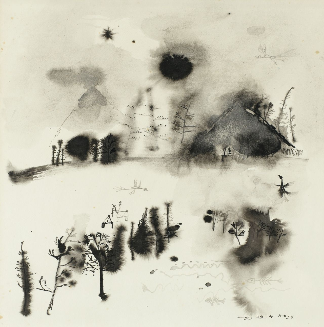 thunderstruck9:  Zao Wou-Ki (Chinese-French, 1920-2013), Sans titre, 1950. Indian ink and wash on japan paper, 34 x 34 cm.