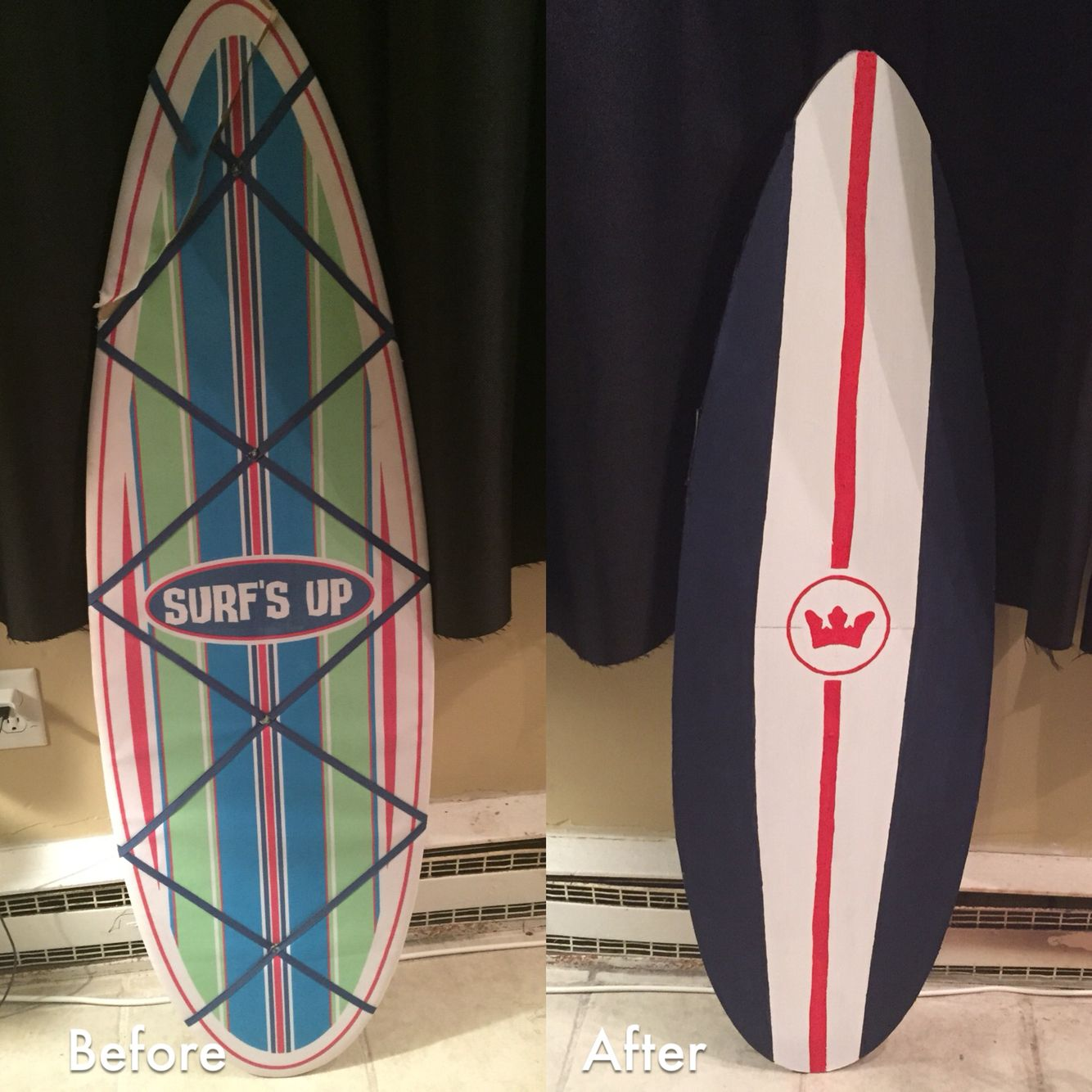 Before and after! DIY surfboard