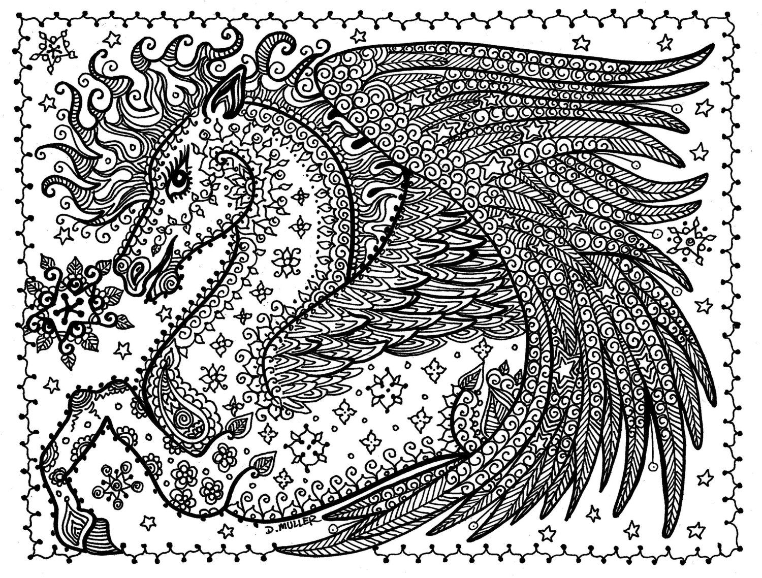 5 Pages Printable Coloring FANTASY To Color Dragon Pegasus Fairy Mermaid Sea Horse You Be The Artist Instant Download