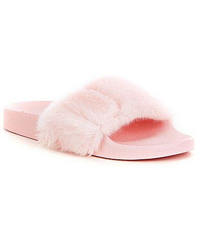 Steve Madden Softey Faux Fur Slide Sandals #Dillards
