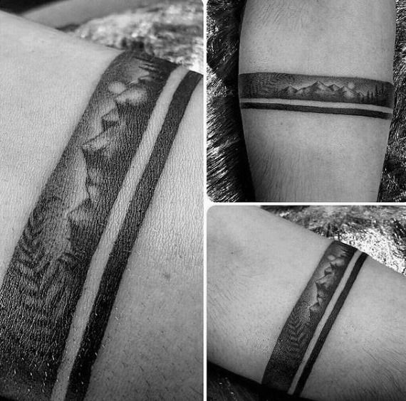 Cool Mens Black Band With Mountain Landscape Arm Tattoo