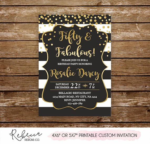 Fifty and fabulous invitation 50 birthday invitation printable gold fifty and fabulous invitation 50 birthday invitation printable gold and black invitation 50 birthday woman invitation 50th birthday gold by rebeccadesignsco filmwisefo