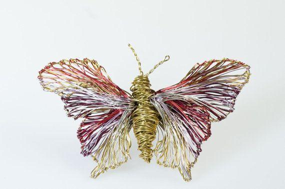 Art butterfly brooch Art jewelry Butterfly jewelry Wire by Vmikro