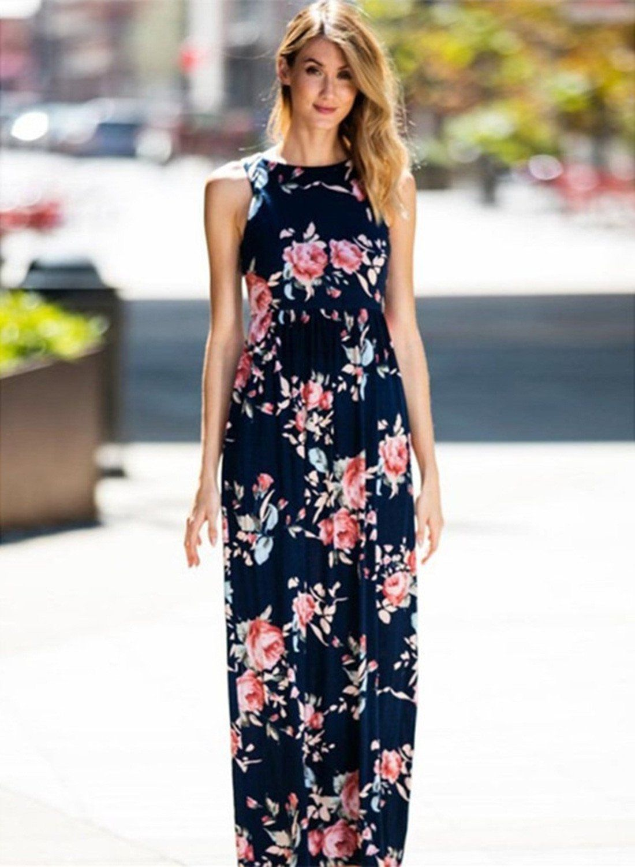d01b05395ea Floral Printed Sleeveless High Waist Maxi Dress