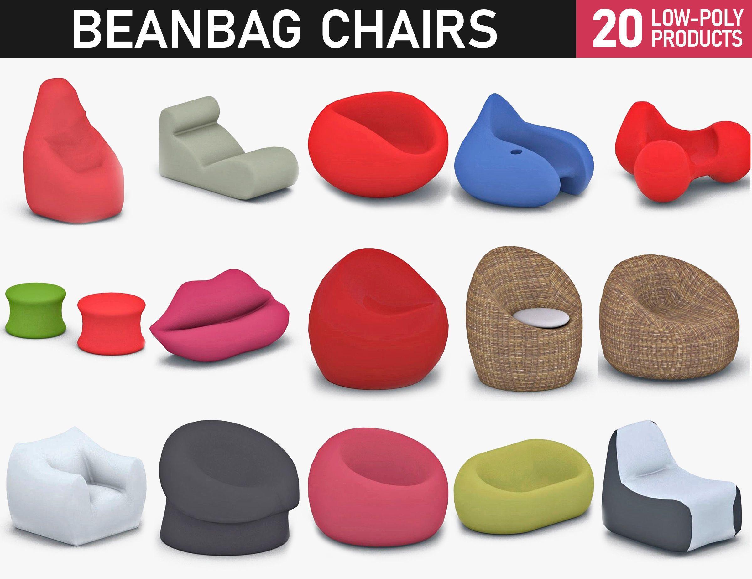 Bean Bag Chairs Collection 3d Model Bean Bag Chair Bean Bag Chair Pattern Bean Bag