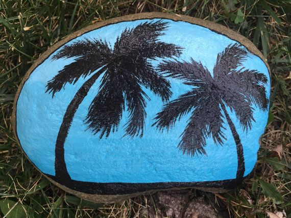 Blue ombré sky hand painted beach rock with two palm trees