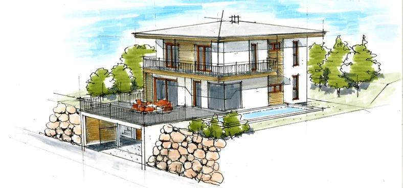 Haus plan walmdach im hang architektur innendesign in for Modernes walmdachhaus