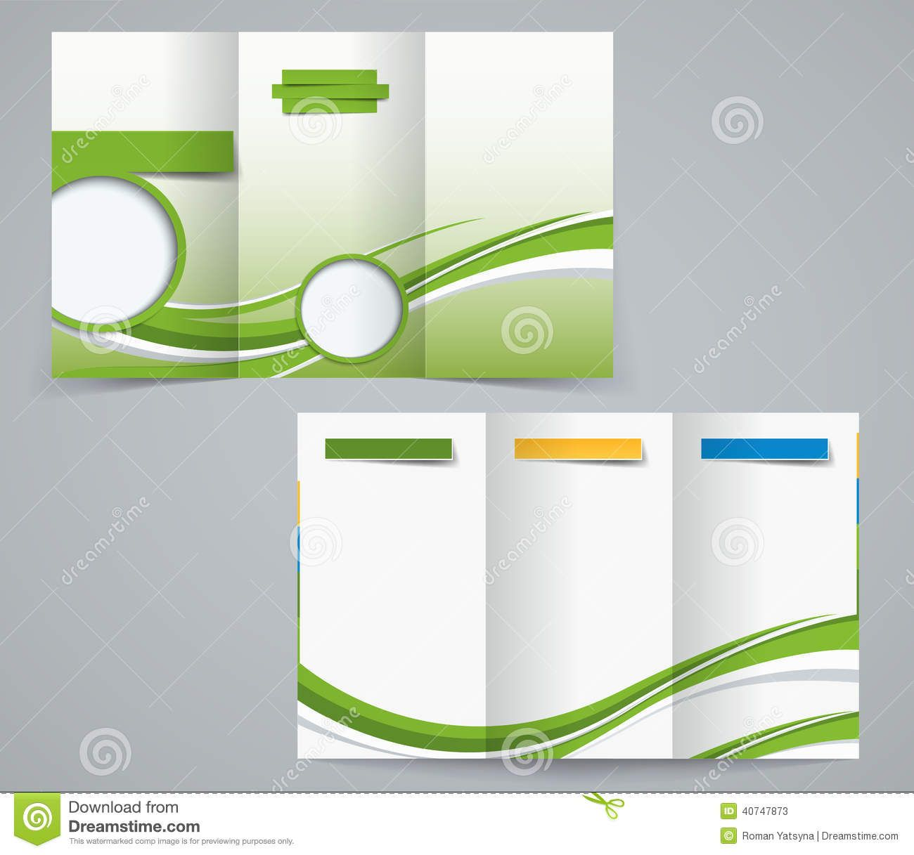 Three Fold Brochure Template Corporate Flyer Or Cover Design In
