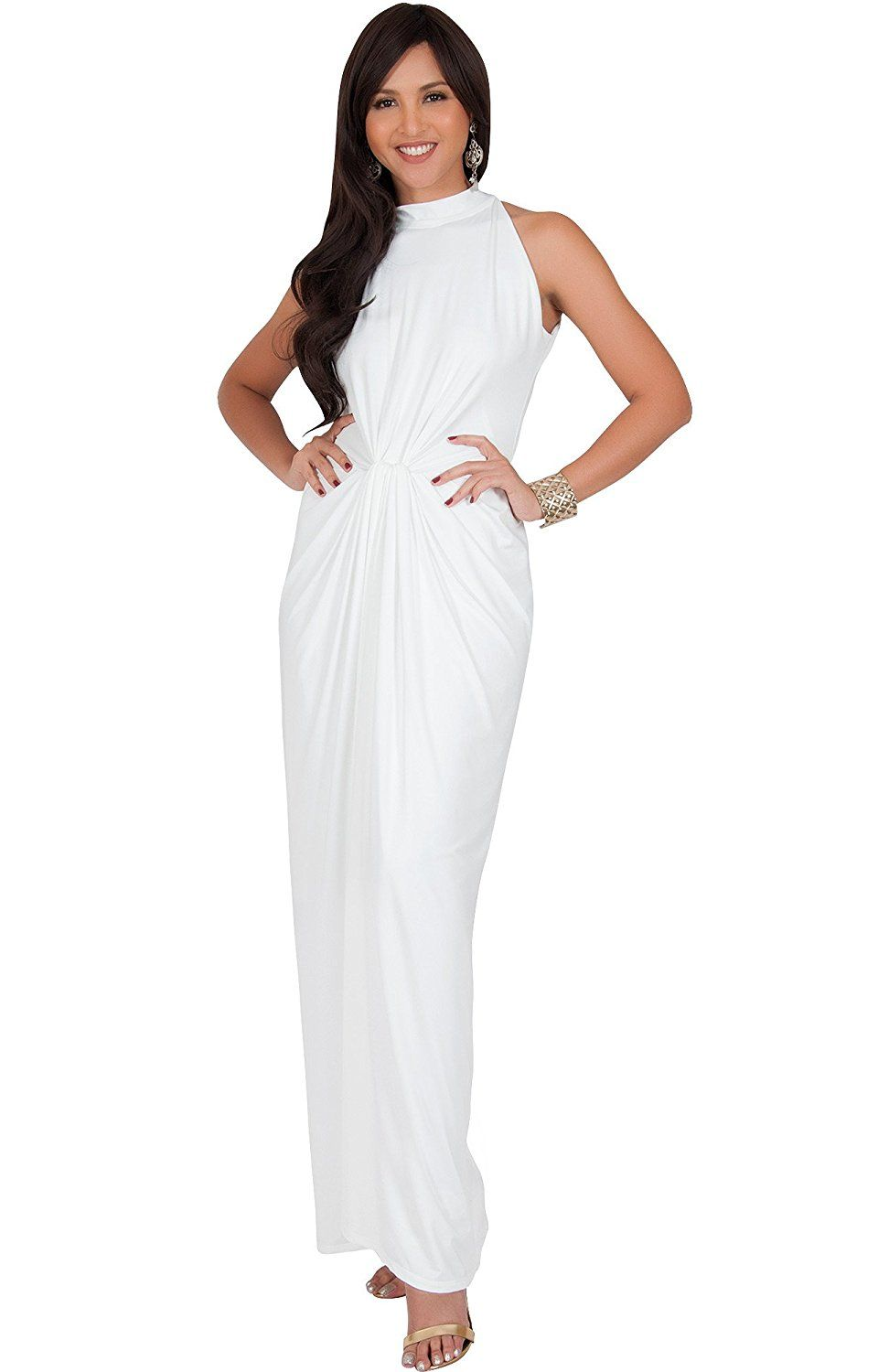 Dresses to wear to a wedding as a guest over 50  Amazon KOH KOH Womens Long Sleeveless Sexy Summer Vintage Tube