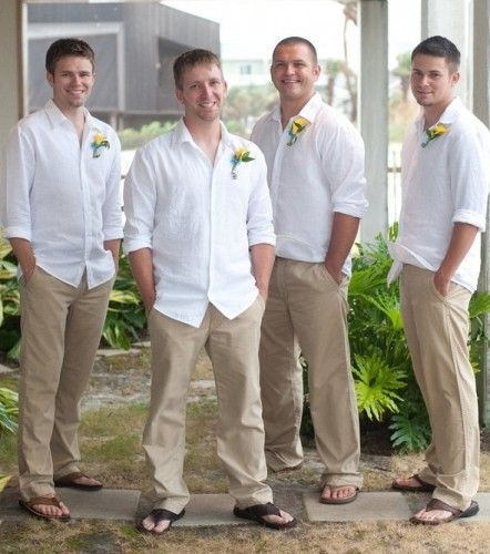 Beach Wedding Outfit Ideas: Love Except With Khaki Shorts And Groomsmen In Teal Shirts