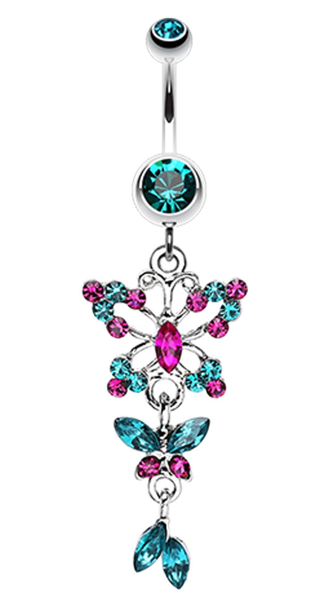 Glam Butterfly Fall Fancy Belly Button Ring Bellybutton Ring