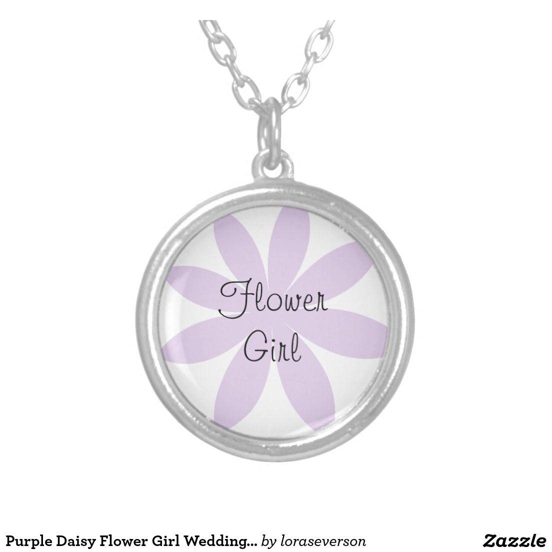 Purple Daisy Flower Girl Wedding Necklace