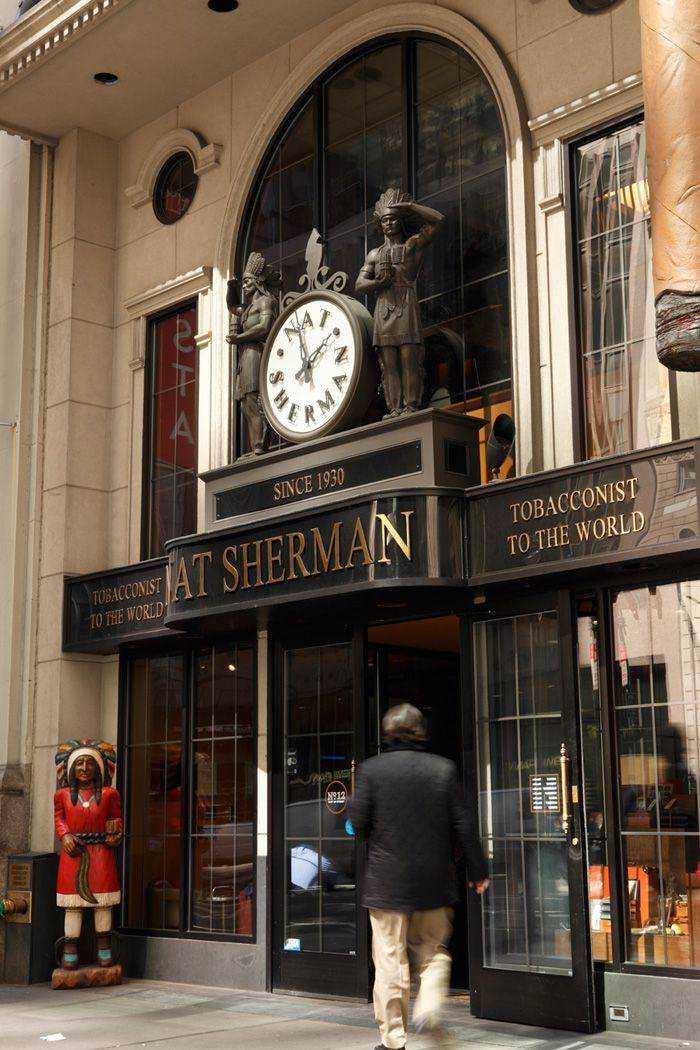 The Nat Sherman cigar store on 42nd Street between Madison and Fifth, NYC.