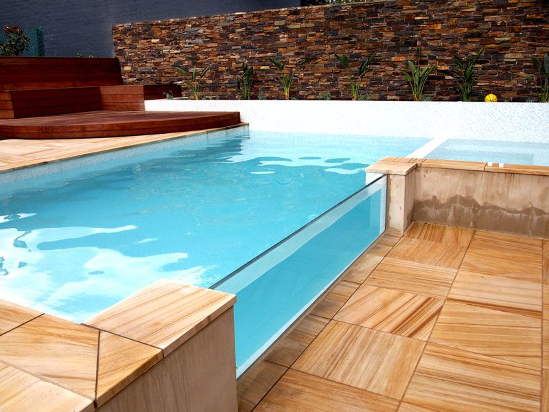 Acrylic wall pool stone tile deck pools in 2018 pinterest