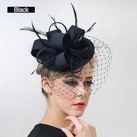 Black Teardrop Wedding Hat birdcage veil fascinator Bridal Hat Birdcage veiling feather hat fascinator rhinestone Embellishment wedding