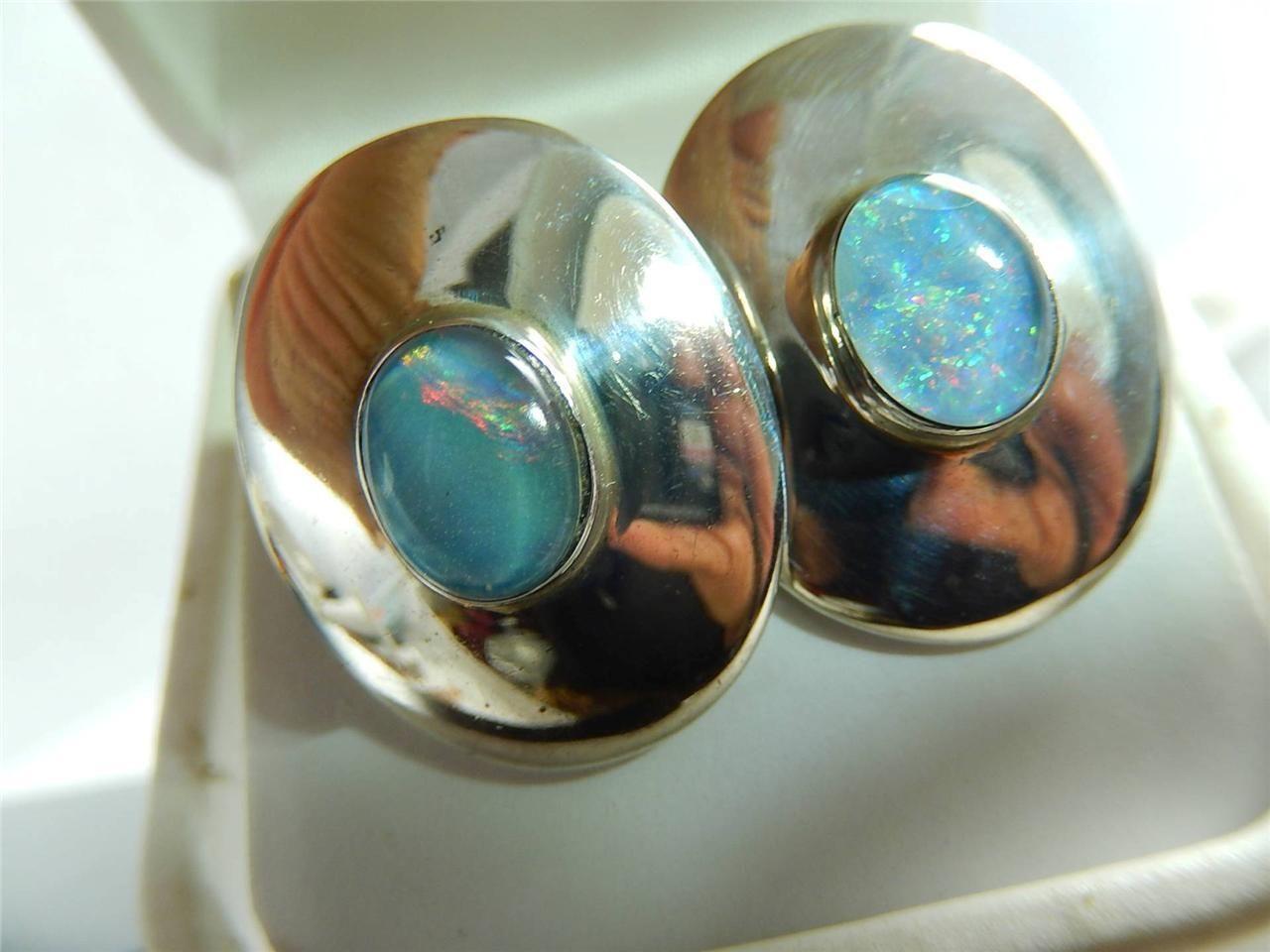 Black Opal Triplet Sterling Earrings Chunky Mexico Vintage 11 GR Pierced | eBay