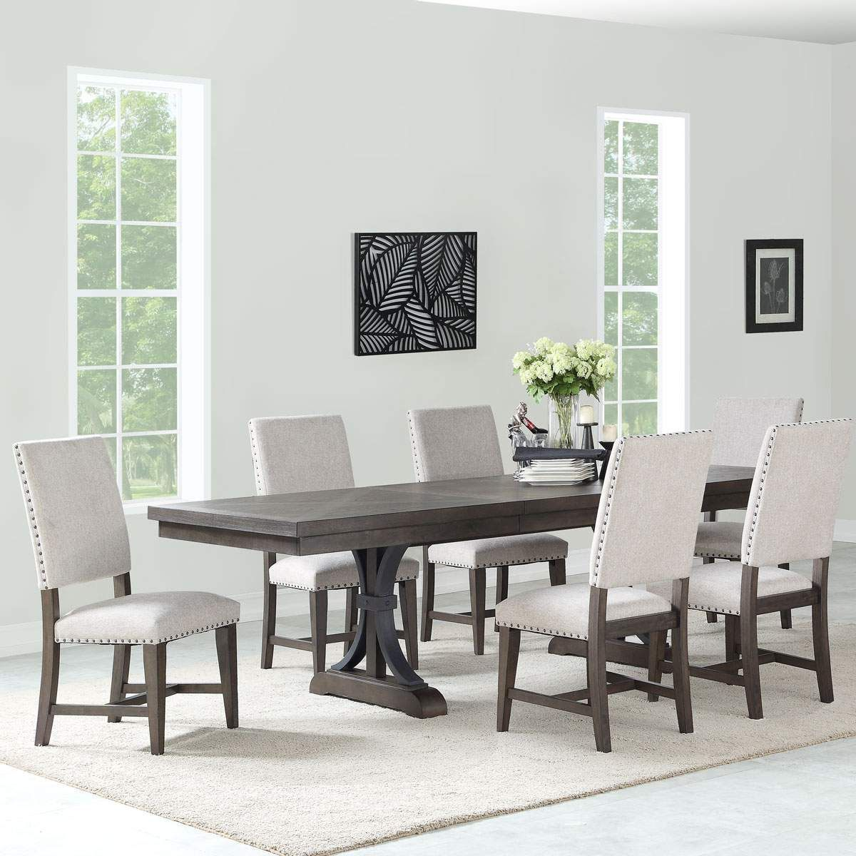 Espresso Stained Table Set W 6 Fabric Chairs Jerome S In 2020