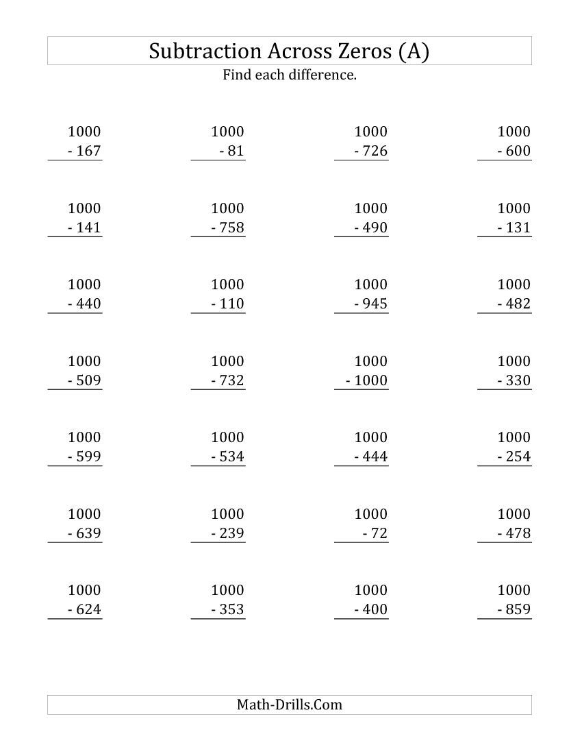 Subtracting Across Zeros From 1000 A Subtraction Worksheet Subtraction Across Zeros Subtraction Worksheets Free Math Worksheets [ 1100 x 850 Pixel ]