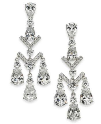 4e834bb1a1fc4 Eliot Danori Silver-Tone Crystal Chandelier Earrings, Created for ...