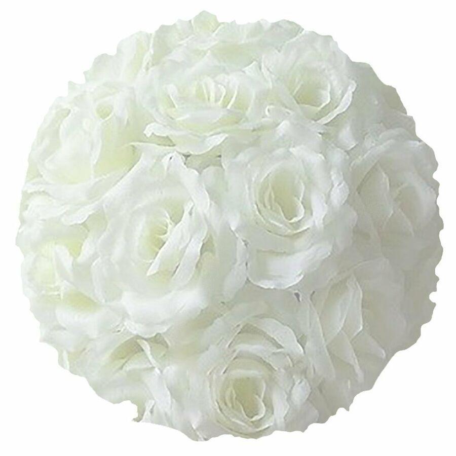 Details About 10 Rose Flower Pomander Kissing Balls Wedding Home Decoration White In 2020 Pomander Wedding Silk Roses Paper Flower Ball