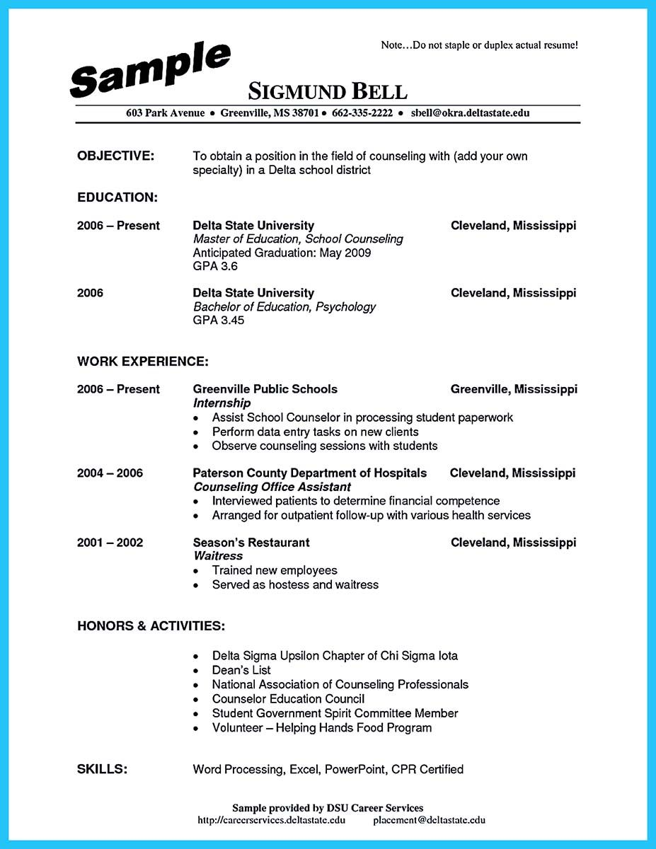 school counselor resume objective
