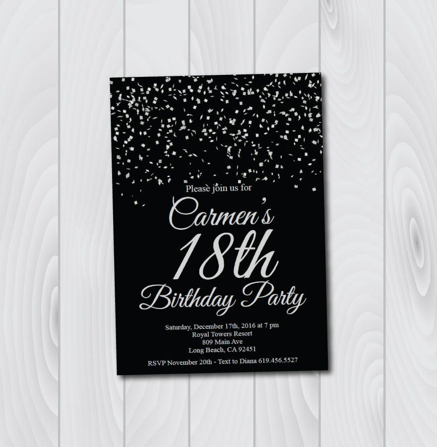 18th Birthday Invitation Printable Silver Black E Card Template Eighteenth By BlessedDayPaper