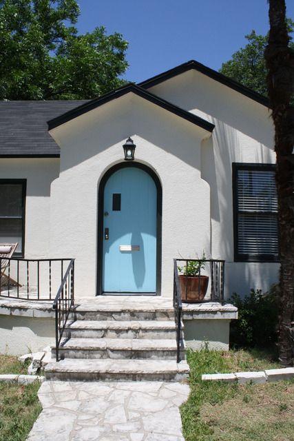 White house, black trim, robin's egg blue door | Living ...