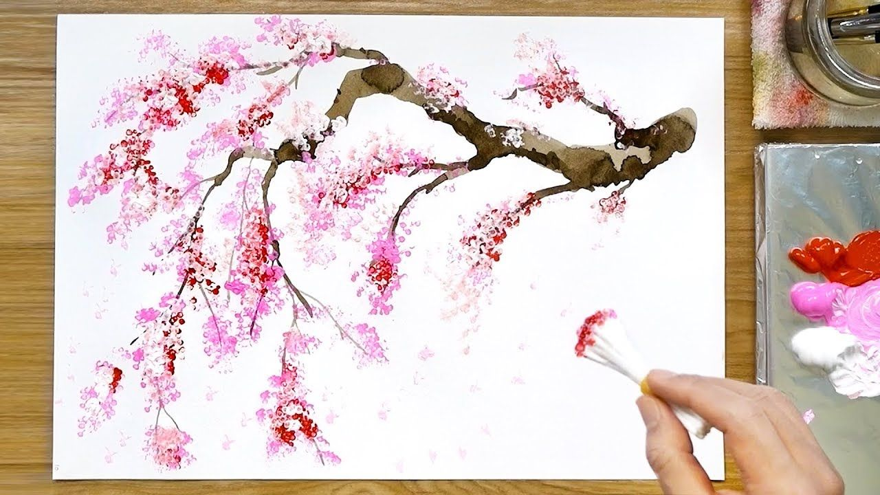 Cherry Blossom Tree Acrylic Painting Technique Youtube Cherry