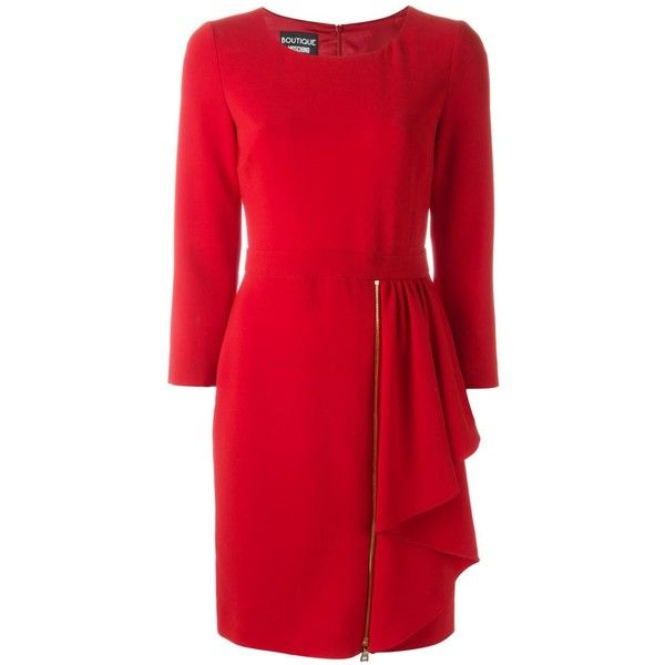 Boutique Moschino Asymmetric Ruffle Dress (£415) ❤ liked on Polyvore featuring dresses, red, red dress and red cocktail dress