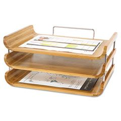 Natural Bamboo Triple Tray Safco Products Desk Sets Office Accessories Home