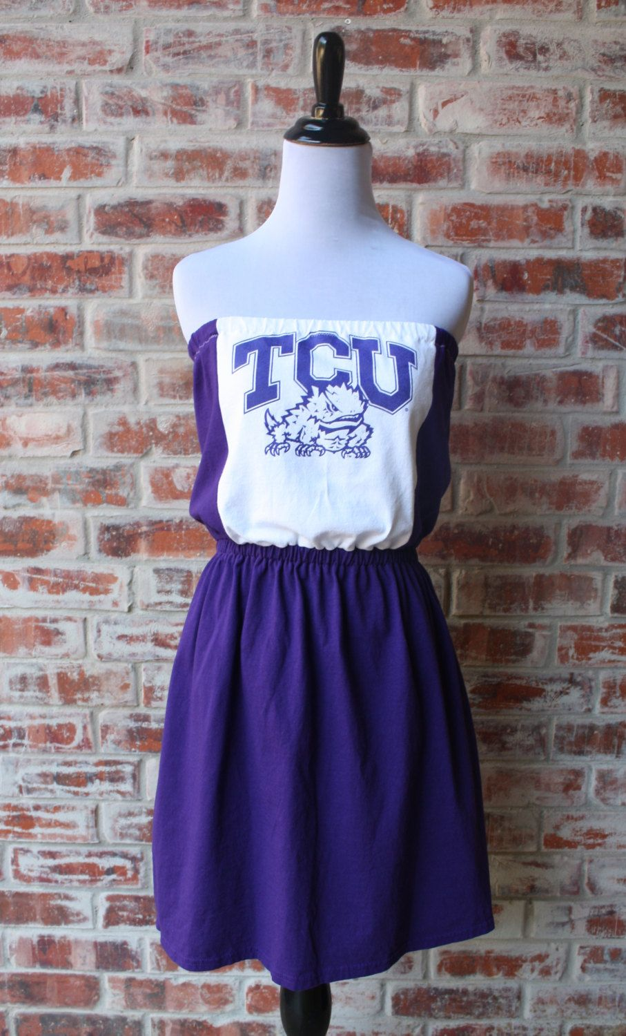 Texas Christian University TCU Horned Frogs Game Day Strapless Dress by Jill Be Nimble on Etsy.  Great TCU gameday dress or gameday outfit.  It's a one of a kind!
