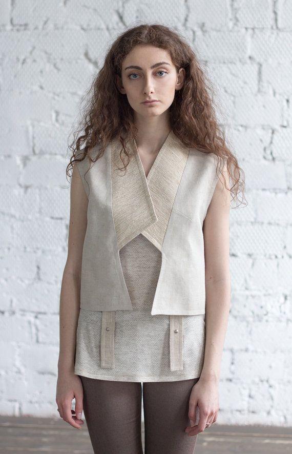 5795de9c7001 Women s Vest   linen raw silk vest   sleeveless cardigan   Long Vest    White Vest   Summer Top   Bo