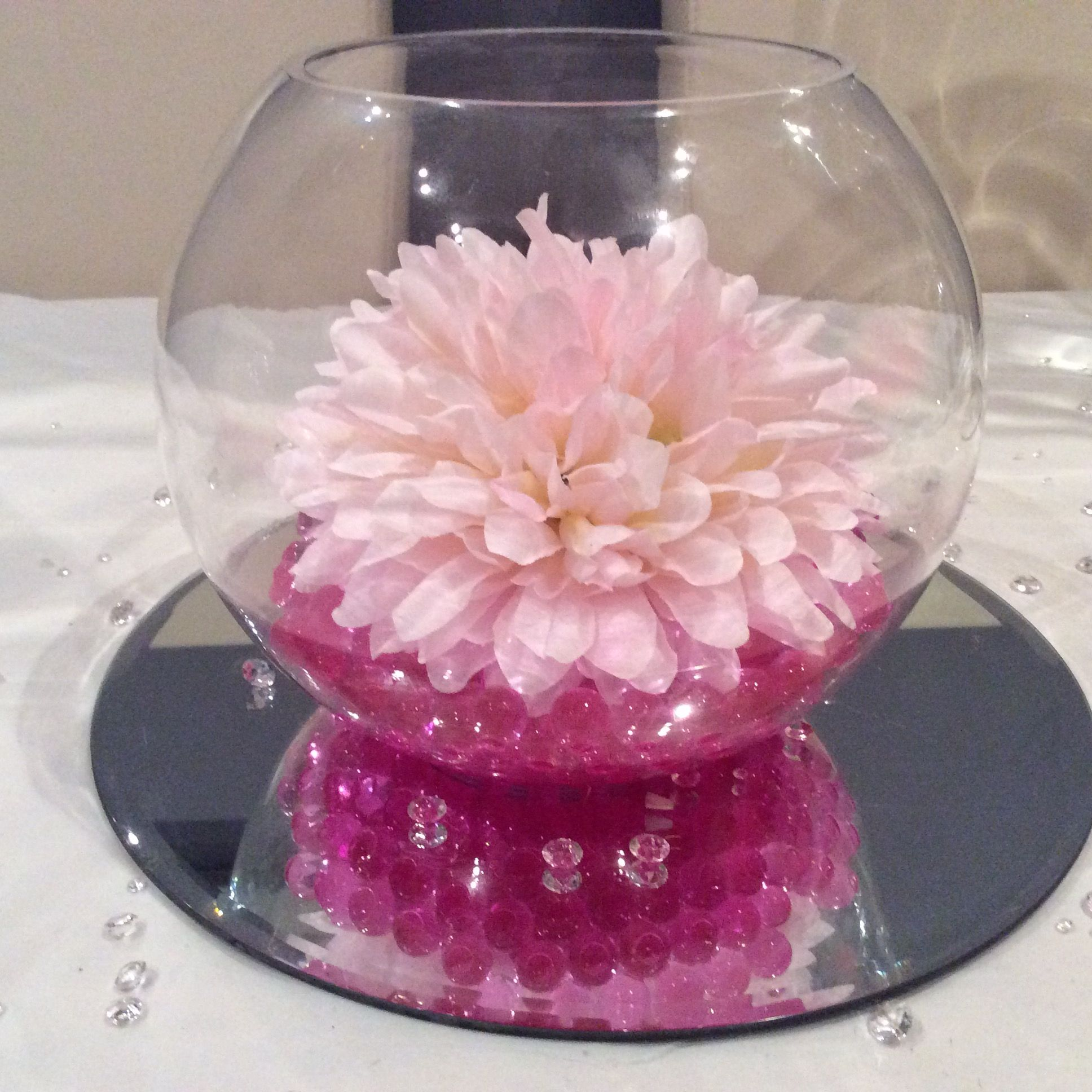 Pink wedding fishbowl centrepiece of my dreams