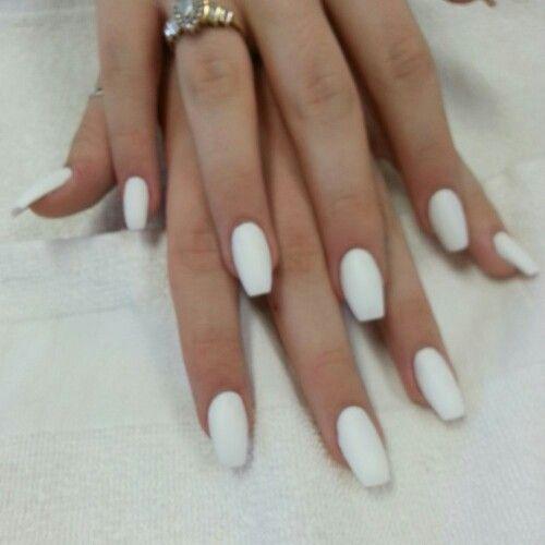 Nail Art With White Acrylic Paint: White Ballerina Acrylic Nails