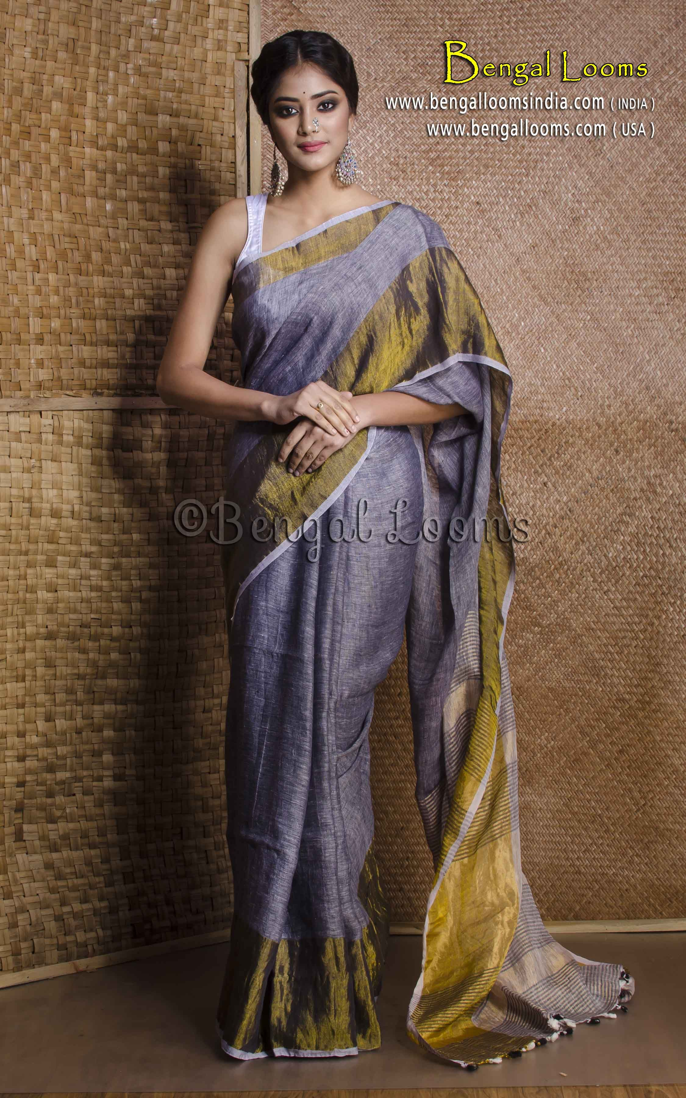 23c90c4ecb2b59 Pure Handloom Linen Saree with Wide Gold Border in Gray