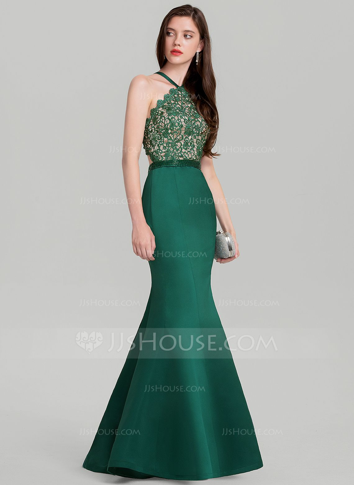 Fashion dress for wedding party  TrumpetMermaid Vneck FloorLength Satin Evening Dress With Beading