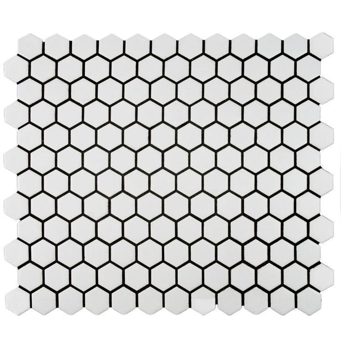 "EliteTile Retro 0.875"" x 0.875"" Hex Porcelain Mosaic Tile in Matte White - Wayfair"