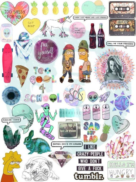 Set #10 Mockup printable Tumblr Stickers, Stickers, Set of stickers