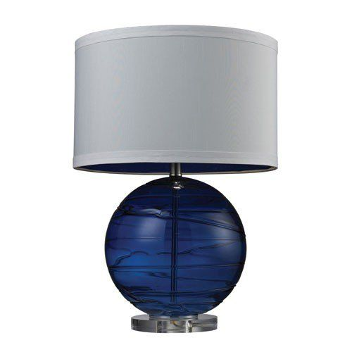 Sapphire Blown Glass Lamp via The Beach Look. Click on the image to see more!