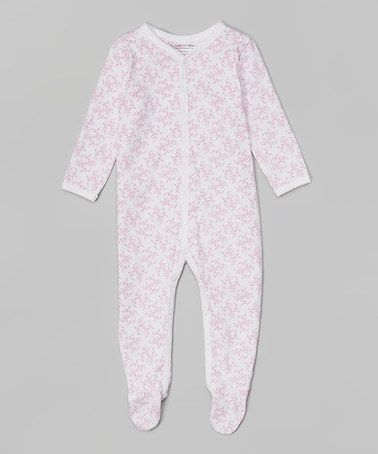White & Pink Damask Organic Footie by Pumpkin & Peter