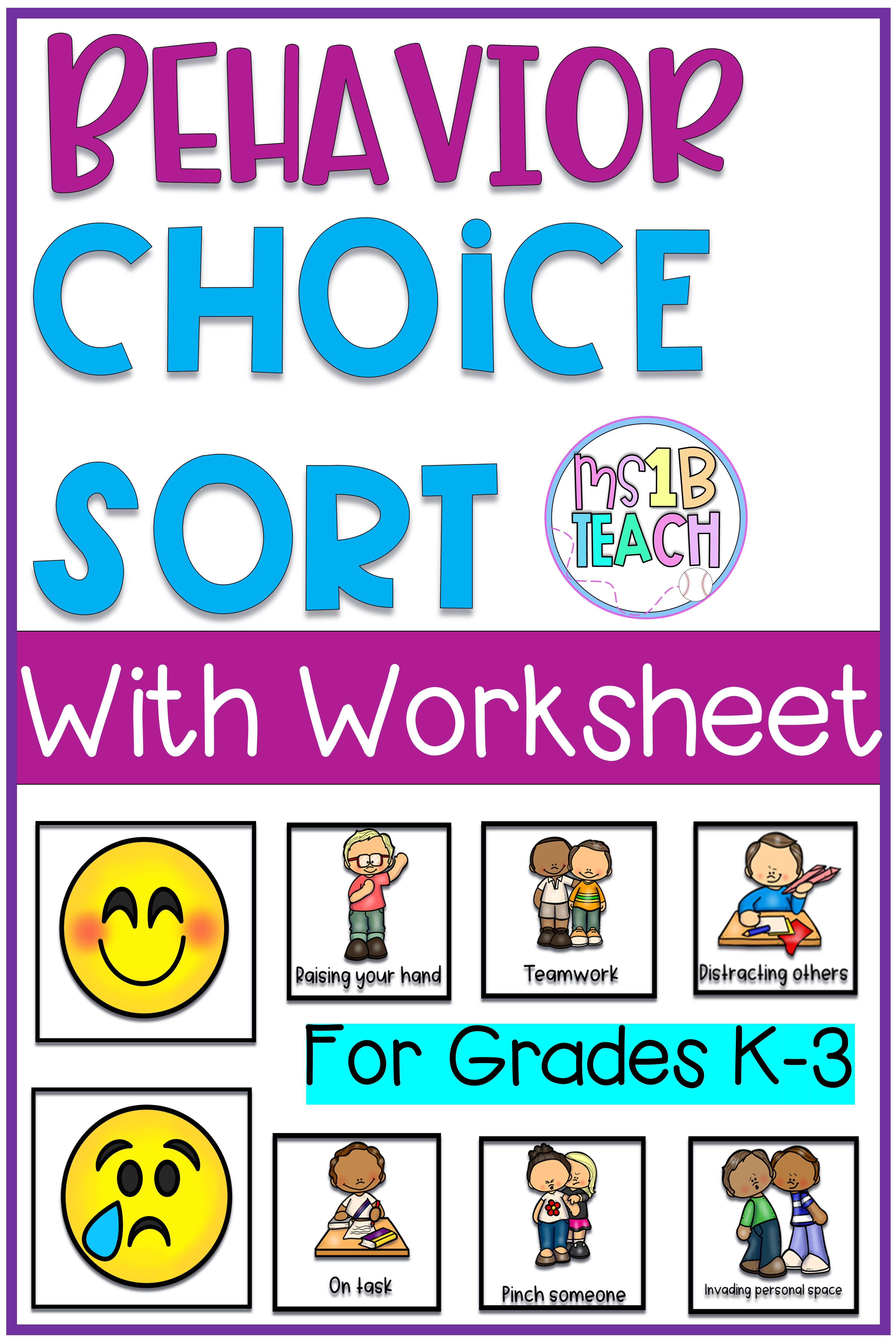 Good Choice And Bad Choice Pocket Chart With Worksheet In