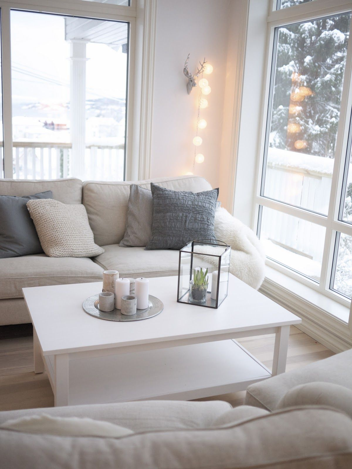 Bedroom Fairy Light Ideas | White couches, Sunroom and Living rooms