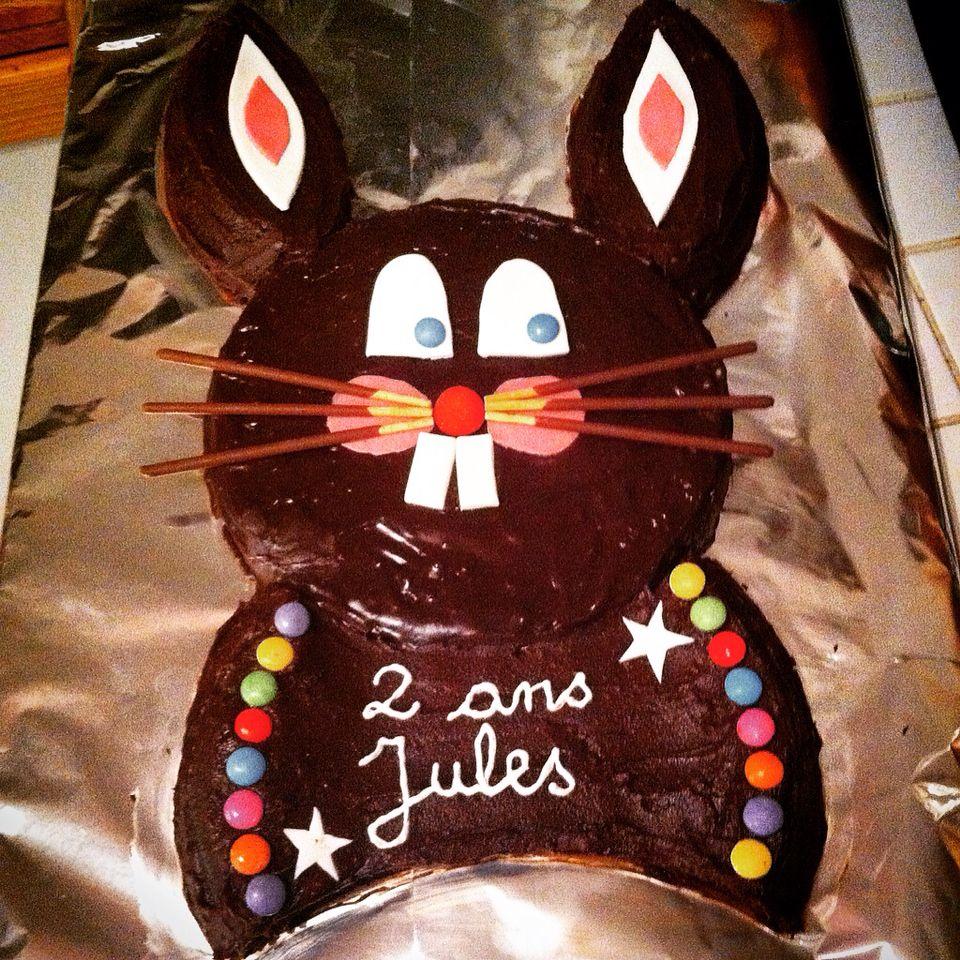 G teau d 39 anniversaire lapin en chocolat 2 ans de jules - Gateau anniversaire 2 ans ...