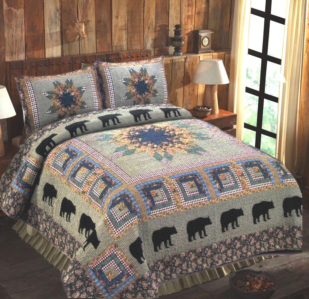 Black bear forest quilt set full bedding sets farmhouse