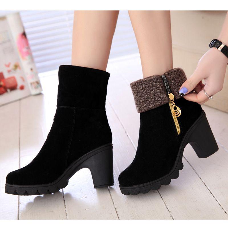 0439dd3db84 Nouveau mode femmes bottes d hiver automne   hiver en daim à talons hauts  hiver chaud chaussures femme Botas Femininas(China (Mainland))