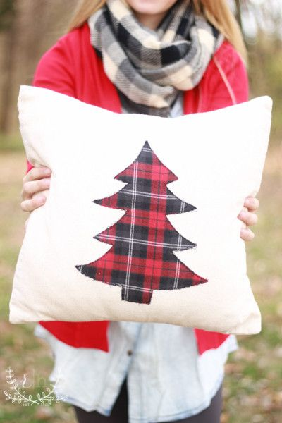 These pillow covers are handmade at Rustic Honey with a medium-weight linen fabric and a plaid tree print stitched appliqué. The opening overlaps in the back for easy pillow covering. Size: 16x16 Pill