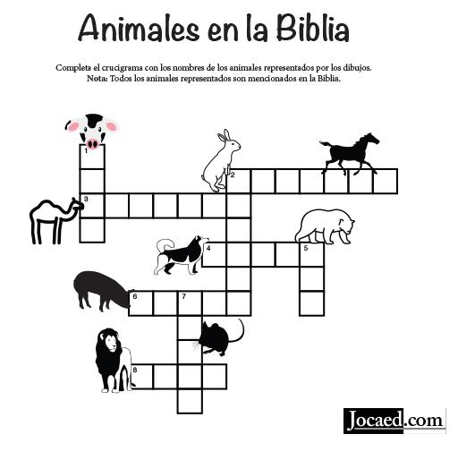 Juego Bíblico Crucigrama Bíblico Animales En La Biblia Crucigramas Imprimibles Juegos Biblicos Crucigramas
